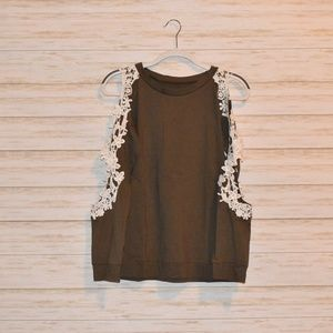 Lace Trim Cold Shoulder Top